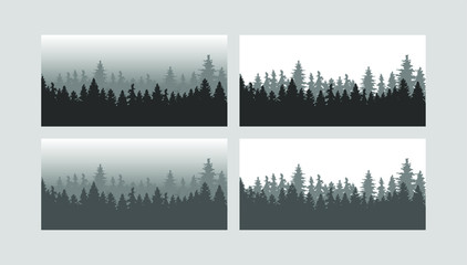 forest trees. Vector silhouette of detailed and seamless Spruce forest.