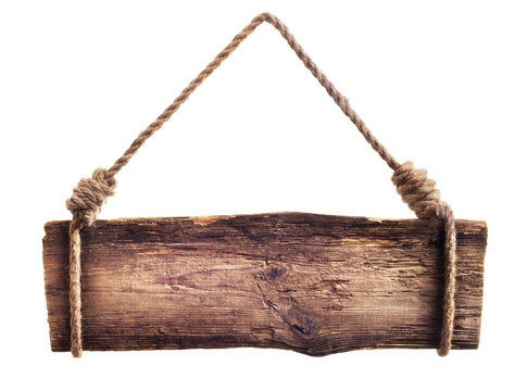 wooden signboard hanging on rope isolated on white