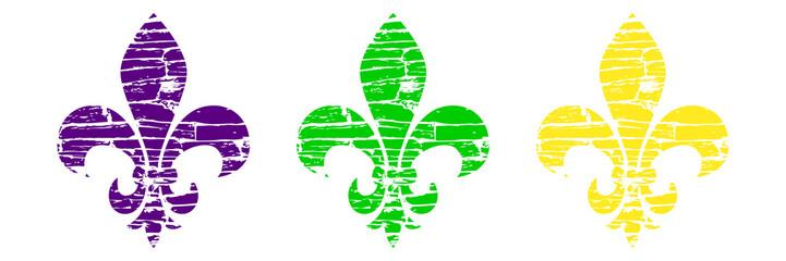 Fleur de lis set. Heraldic lily. Mardi Gras Symbol