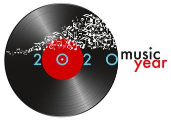 Carte de vœux pour l'année 2020 sur le concept de la musique, avec pour symbole un disque vinyle et une banderole de note qui s'envolent.