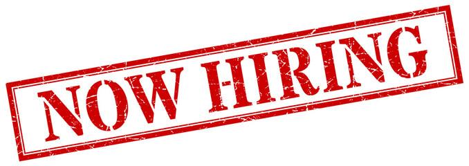 now hiring stamp. now hiring square grunge sign. now hiring