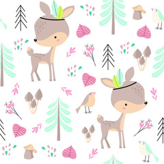 Vector forest pattern with baby deers. Forest animals. Cartoon baby deer.