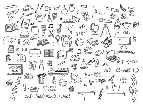 Back to school and science doodle drawings collection. Vector eps10.