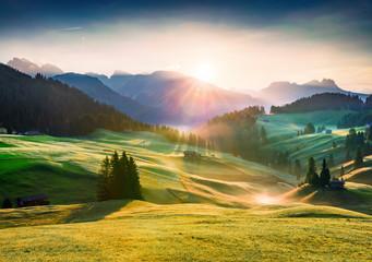 Fototapeta Attractive morning scene of Compaccio village, Seiser Alm or Alpe di Siusi location, Bolzano province, South Tyrol, Italy, Europe. Wonderful summer view of Dolomiti Alps. obraz