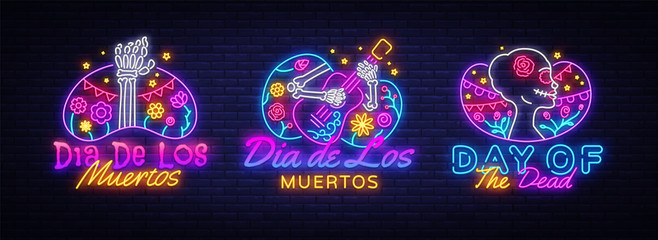 Day of the dead Neon signs set Vector. Dia de los moertos neon icons collection. Fiesta, holiday poster, party flyer, greeting card, design template, modern trend design. Vector illustration