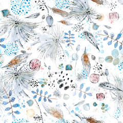 Vector seamless watercolor and ink abstract pattern of boho elements, feathers, shells, palm twigs, plants, spots and splashes. For cover, wrapping paper and over decor.