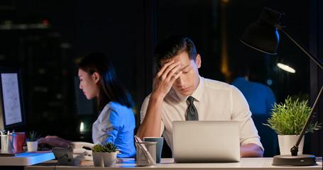 businessman overtime work