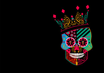 Joker king skull icon, neon colors background