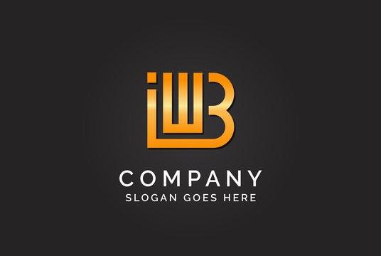 Luxury initial letter IWB golden gold color logo design. Tech business marketing modern vector