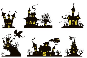 a selection of two-tone houses for Halloween
