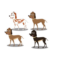 Four Different Dogs - Cartoon Vector Image