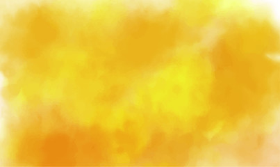 Abstract watercolor painting with yellow, orange and brown colors. Autumn fall background illustration with copy space