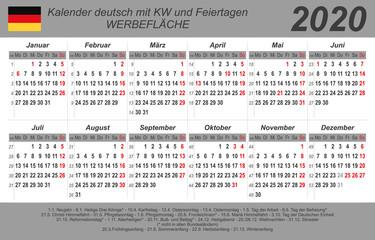 Kalender 2020 - grau - quer - deutsch - mit Feiertagen (85 x 54 mm)