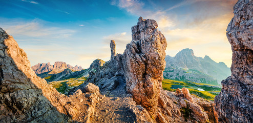 Printed kitchen splashbacks Beige Colorful summer sunrise in rocky mountain valley. Fantastic morning scene of Tre Cime di Lavaredo National park with Laghi del Piani lakes, Dolomiti Alps, South Tyrol, Italy, Europe.