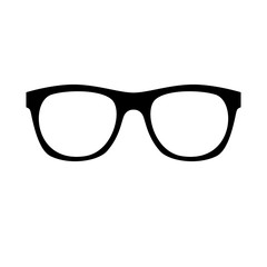 Vector illustration of an isolated pair of simple black large geek glasses.