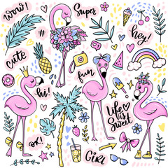Cute summer stickers set with flamingos, ice cream, watermelon, pineapple, rainbow, lemonade, tropical leaves.
