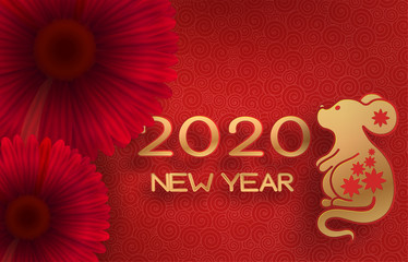 Golden mouse on a textured red background. Template on the theme of the Chinese horoscope. Eastern calendar. Year of the mouse. Free space. Greeting card.