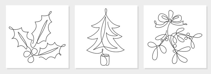 One line drawing Christmas tree, mistletoe, holly berry leaves. Modern continuous line art, aesthetic contour. Xmas symbol for greeting card, prints, poster, sticker, banner, invites. Vector