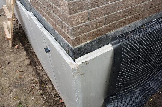 Foundation insulation and Damp proofing in problem corner area. House basement,foundation insulation details with waterproofing and Damp Proof membranes