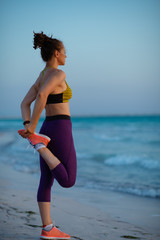 healthy woman on ocean shore at sunset stretching