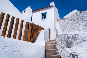Chalk traditional house and narrow steps in beautiful, picturesque village Azenhas do Mar, Sintra Landmark, Portugal, Europe