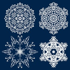 Snowflake winter vintage. Symbol of cold winter