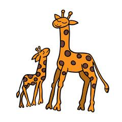Giraffes mother and cub. Children's illustration. Handwork.