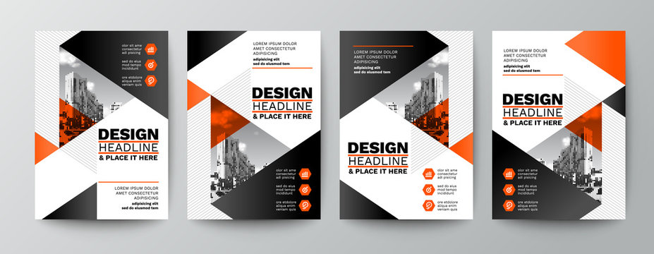 modern orange and black design template for poster flyer brochure cover. Graphic design layout with triangle graphic elements and space for photo background