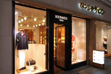 HIROSHIMA, JAPAN - APRIL 21: Visitors shop at Hermes on April 21, 2012 in Hiroshima, Japan. Hermes is famous luxury brand existing since 1837. It had 2.4 billion EUR revenue in 2010.