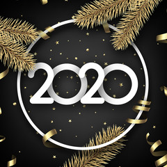 Black shiny happy New Year background with paper 3d 2020 nubmers and gift bow.