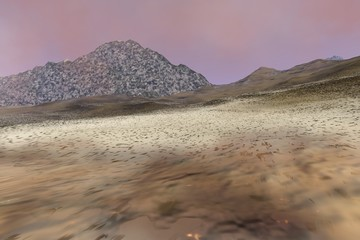 Mountain, a martian landscape, rocky terrain and a hazy sky With colored clouds.