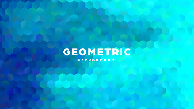 Hexagonal polygonal abstract background. Colorful triangle gradient design. Low poly hexagon shape banner. Vector illustration.