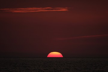 Beautiful shot of the sun going down in a red sky