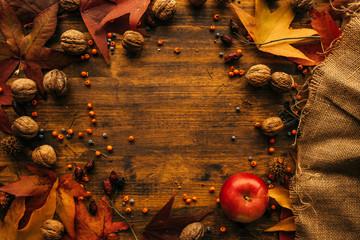 Autumn season arrangement top view with copy space