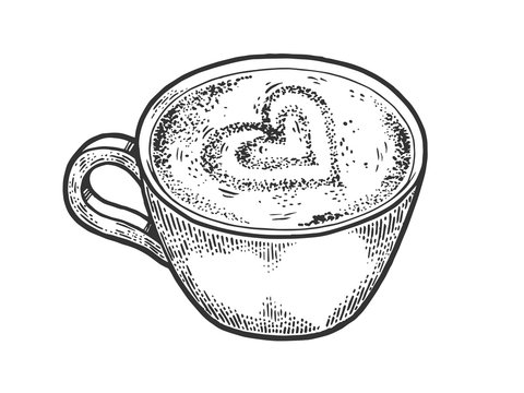 Cup of latte with art heart sketch engraving vector illustration. Coffee artwork. Scratch board style imitation. Black and white hand drawn image.