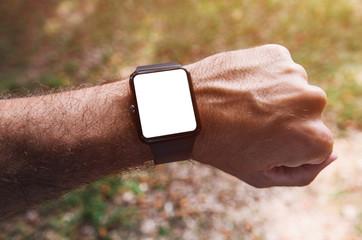 Smartwatch mock up on male hiker hand