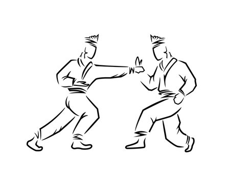 Two Silat Fighters Silhouette