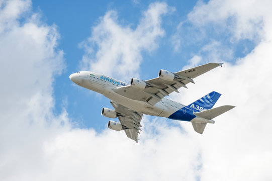 Airbus A380 climbing through clouds while departing Farnborough, UK on July 16, 2010