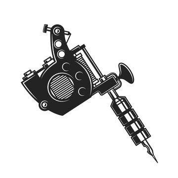 Retro tattoo gun or machine, isolated vector