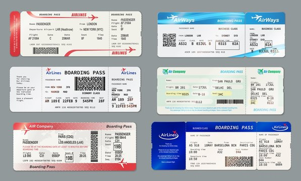 Boarding pass and plane ticket, vector mockups