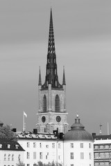 Stockholm church. Black and white vintage style.