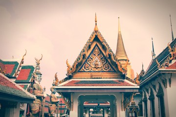 Wall Mural - Grand Palace, Bangkok. Retro filtered colors style.