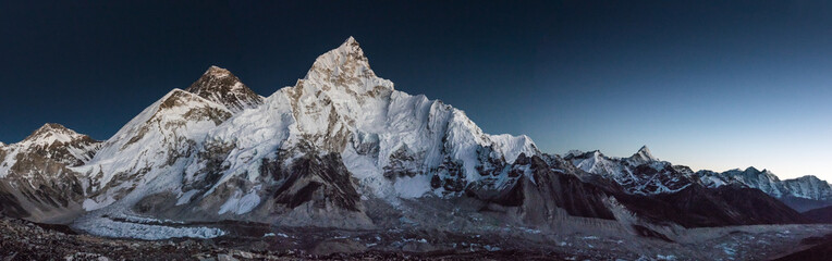 View of Mt Everest from Kala Pattar after sunset