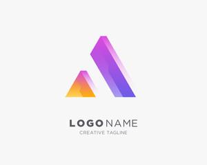 Creative Letter A Logo. 3d letter A logo template.
