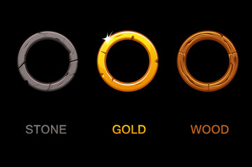 Set of Circle app icons, vector texture frames isolated on black background, elements for UI game or web design