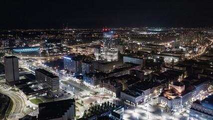 Katowice- Wieczorna panorama miasta