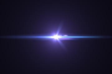 Lens flare light on back background.