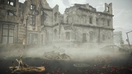 Obraz Ruins of a city. Apocalyptic landscape post apocalypse - fototapety do salonu
