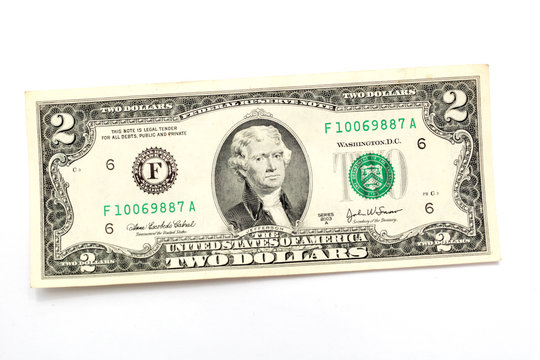 two dollar bill on a white background