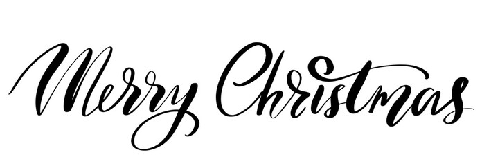 Vector hand drawn lettering phrases. Merry Christmas and Happy New Year
